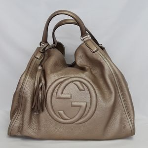 New GUCCI 282308 Gold Leather Large Hobo hand bag